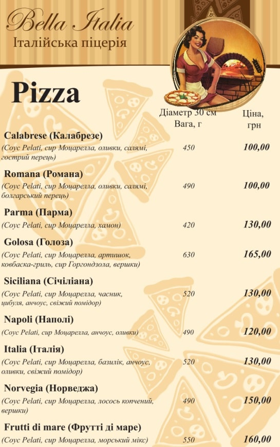 Bella Italia меню пицца