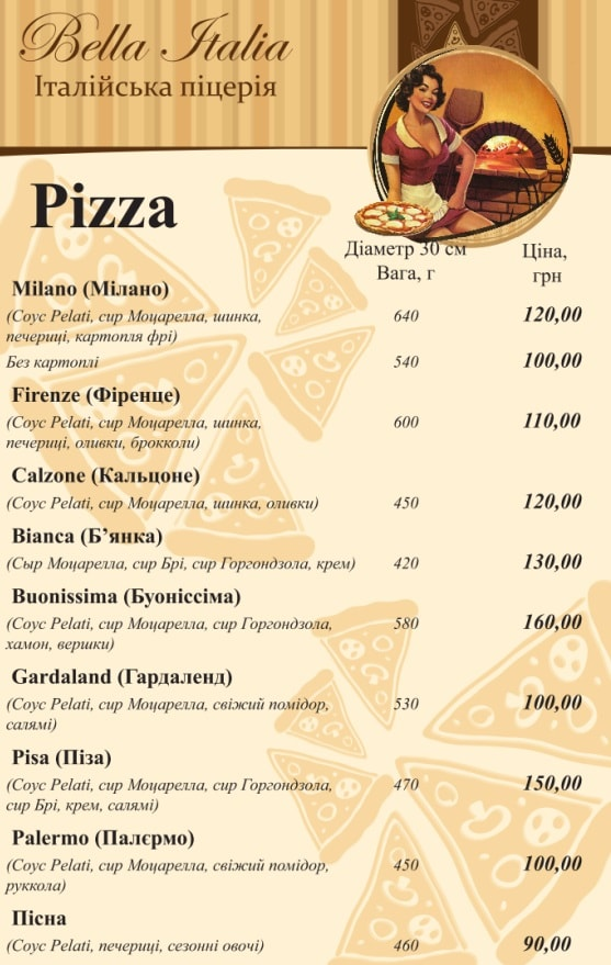 Пиццерия Bella Italia меню