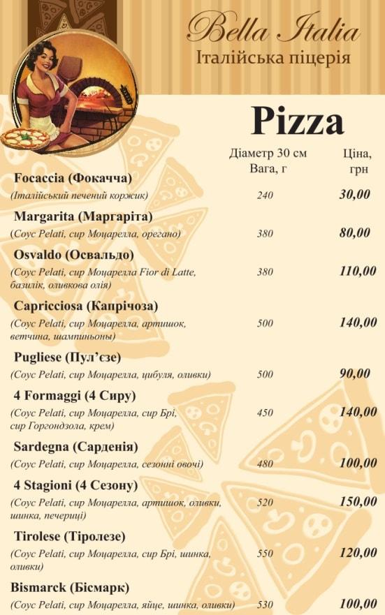 Запорожье Bella Italia меню