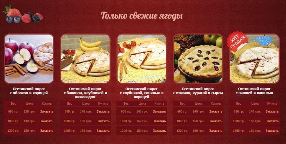 Сладкие Осетинские пироги меню